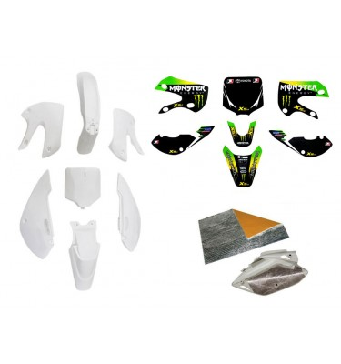 Pack déco MONSTER ENERGY - KLX110 - Blanc