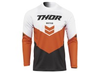 Maillot cross adulte THOR Sector Chev - Gris / Rouge Orange