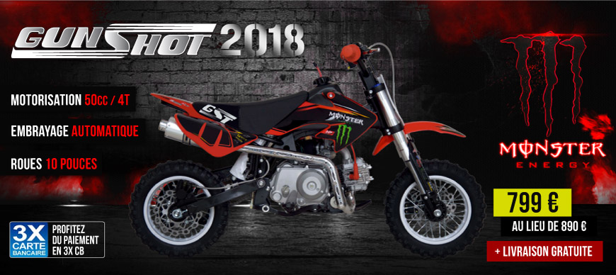Moto Enfant Dirt Bike 50cc GUNSHOT 2017 - Edition MONSTER